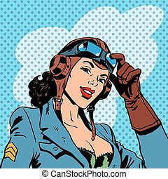 Pin up girl pilot aviation army beauty pop art retro comic...