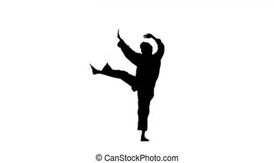 karate and taekwondo in a black kimono on a white background, Silhouette