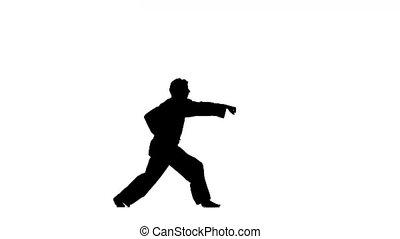 A karate or taekwondon a black kimono on a white background, Silhouette