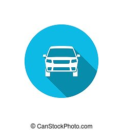 Car icon with long shadow. Vector