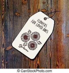 Tag template with bouquet of gerberas on wood background....