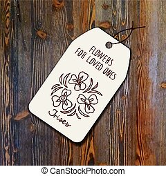 Tag template with bouquet of irises on wood background...