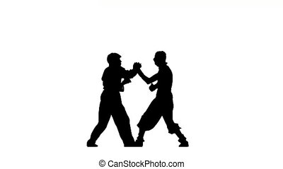 battle figure in the karate and ninja fighting stance silhouette on a white