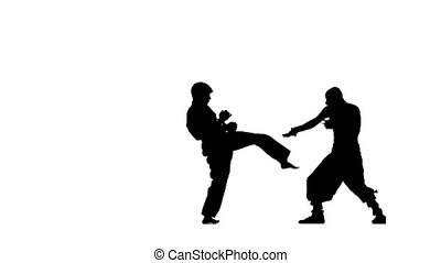 Battle of two man in karate and ninja who strike each other...