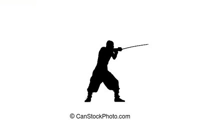 ninja stylei. slhouette of man with sword on white background, silhouette
