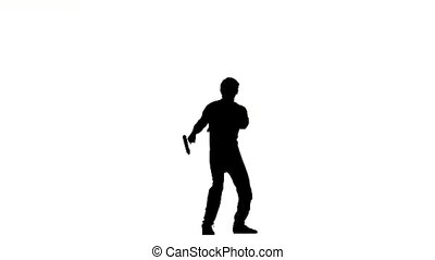 young man expertly twirling nunchaku, silhouette - Costume...