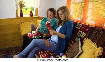granny teach girl knit - amiable grandmother teaches...