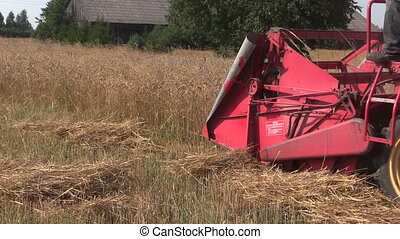 combine harvest wheat - Retro combine harvester trash ripe...