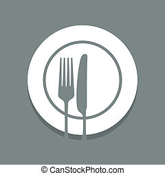 dinnerware - silhouette of knife and fork on a plate