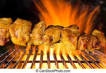 Delicious skewers on garden grill - Delicious skewers on...