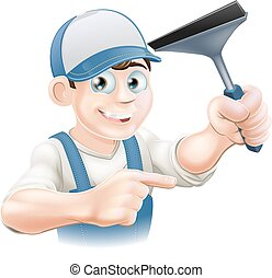 Squeegee Window Cleaner - A happy Window Cleaner holding a...