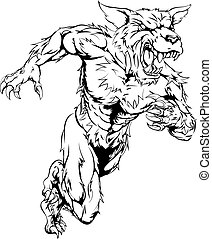 Wolf mascot - An illustration of a sprinting running wolf or...