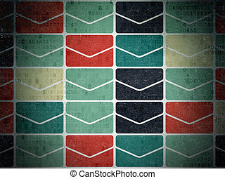 Finance concept: Email icons on Digital Paper background -...