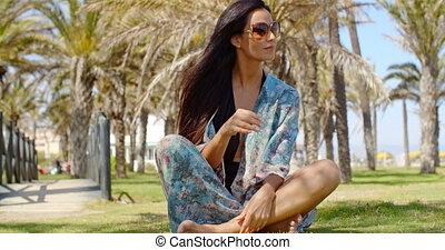 Pretty Girl on Grassy Beach Ground Looking Afar - Pretty...