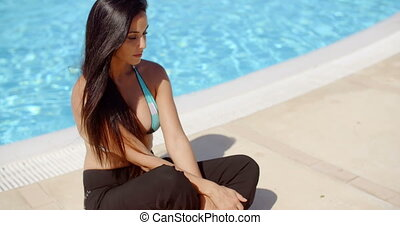 Gorgeous Lady in Swimwear Sitting at the Poolside - Gorgeous...