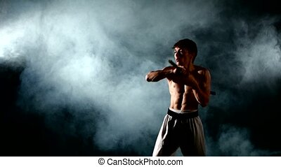 man practicing karate or kung fu. Master holding nunchuck....
