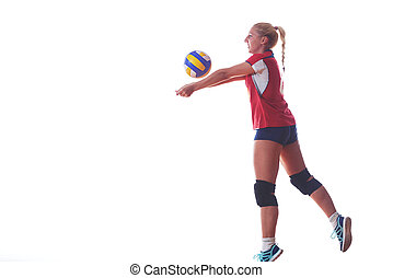 volleyball woman isolated on white background - volleyball...
