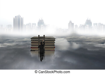 Business man climbing on wooden ladder to top of books with...