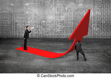 Manager yelling at businessman pushing red trend 3D arrow upward