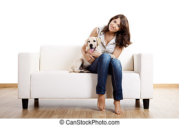 Girl with her best friend - Young beautiful woman at home...