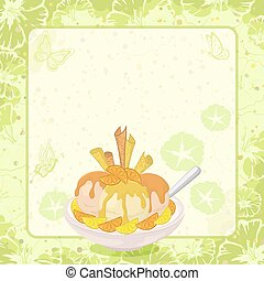 Ice Cream, Citrus, Waffles and Floral Background - Food, Cup...