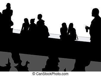 Bus stop travel - People at bus stop on white background