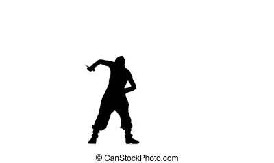 Ninja style. Silhouette of man with sword on white...