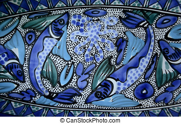 Bright Blue Fishes Ceramic Art - Beautiful ceramic serving...
