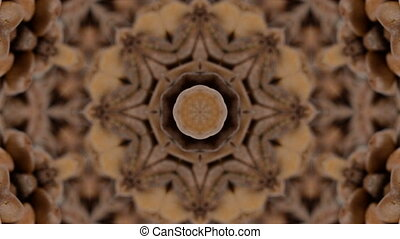Brown kaleidoskope background. Looped rotation