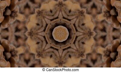 Brown kaleidoskope background. Looped rotation