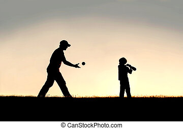 Silhouette of Father and Young Child Playing Baseball...
