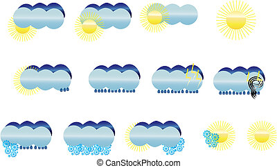 Weather icons - Set of weather icons, vector illustration