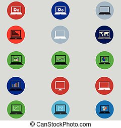 set of icons with computers in flat design - set of computer...