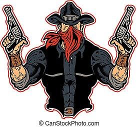 cowboy bandit - muscular cowboy bandit with pistols