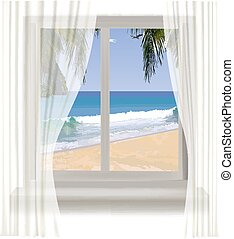tropical beach through the window - Background with an open...
