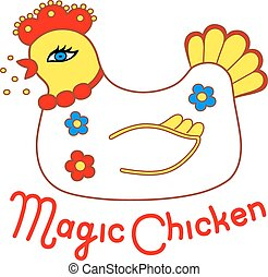 Magic chicken handpaint watercolor Vector illustration...