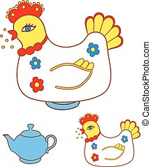 Magic chicken warmer for teapot. Vector illustration...