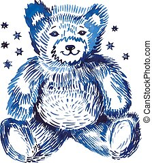 Sitting bear handpaint watercolor Vector illustration...