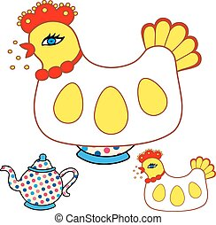 Magic chicken warmer for teapot Vector illustration isolated...