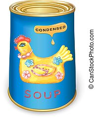 Can of condensed Magic chicken soup Vector illustration...
