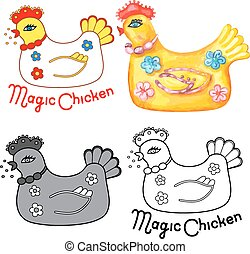 Magic chicken set - Magic chicken logo. Vector illustration...