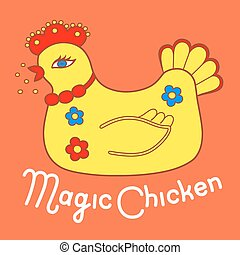 Magic chicken logo. Vector illustration isolated on orange...