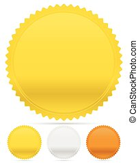 Gold, silver and bronze badges, starburst shapes. Price...