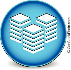 Icon with towers Webhosting or building, layers concepts