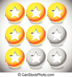 Star rating system with 3 stars and sphere graphics