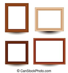Set of 4 wooden picture, photo frames.