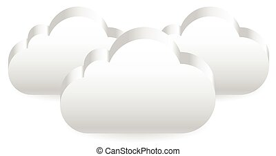 3d Clouds. Overlapping cloud shapes. Eps 10 vector.
