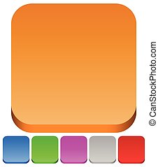 3d squares with rounded corners in 6 colors: Brown, blue, green, purple, gray and red button backgrounds.