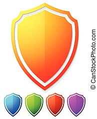 Glossy, bright, colorful shield shapes in 5 colors.