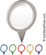 Set of vector map markers, with various colors
